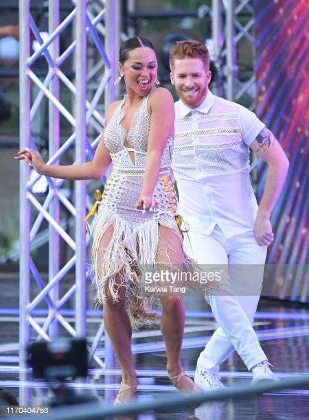 Katya Jones and Neil Jones attend the Strictly Come Dancing launch show red carpet arrivals at Television Centre on August 26 2019 in London England