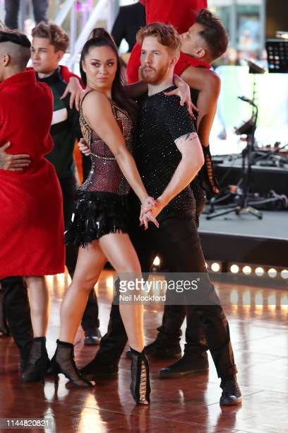 Katya Jones and Neil Jones seen rehearsing with the Strictly Come Dancing dancers ahead of their One Show performance at BBC Broadcasting House on...