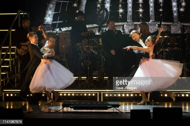 Katya Jones Neil Jones Oti Mabuse and AJ Pritchard perform on stage during The Strictly Professionals Tour final dress rehearsal at The Lowry on May...