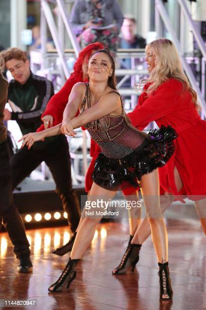Katya Jones seen rehearsing with the Strictly Come Dancing dancers ahead of their One Show performance at BBC Broadcasting House on April 24 2019 in...