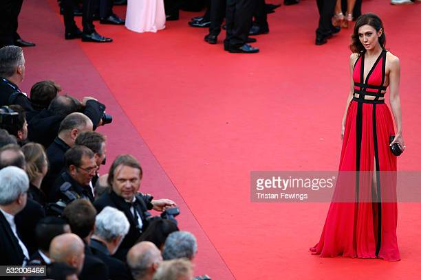 Katya Mtsitouridze attends the Julieta premiere during the 69th annual Cannes Film Festival at the Palais des Festivals on May 17 2016 in Cannes...