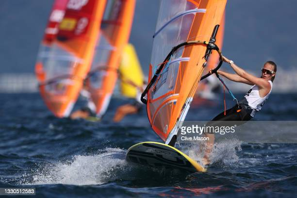 Katye Spychakov of Team Israel competes in the Women's RS:X Windsurf class on day two of the Tokyo 2020 Olympic Games at Enoshima Yacht Harbour on...