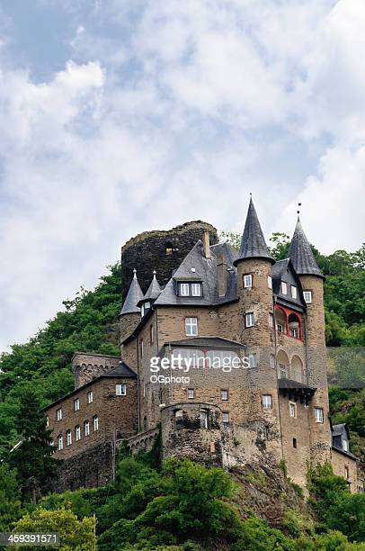 katz castle in st. goarhausen, germany - ogphoto stock pictures, royalty-free photos & images