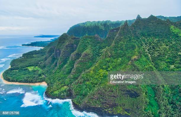 Kauai Hawaii aerial from helicopter of the breathtaking Na Poai Coast shore from above