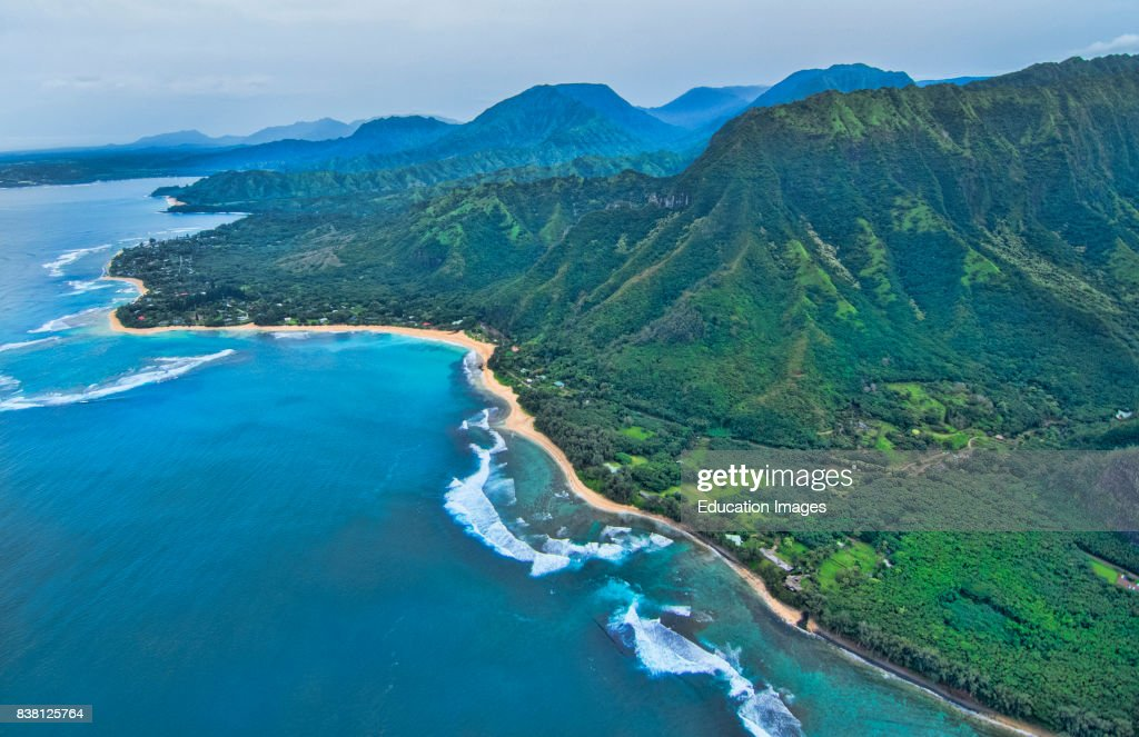 Kauai Hawaii aerial from helicopter of Na Poai Coast : News Photo