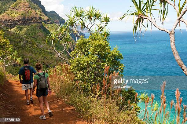 kauai vacation and kalalau trail - na pali coast stock photos and pictures
