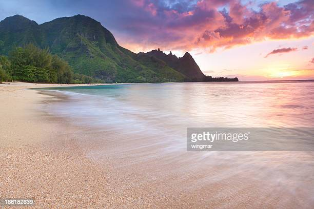 Kauai-tunnels Beach in  Hawaii at sunset