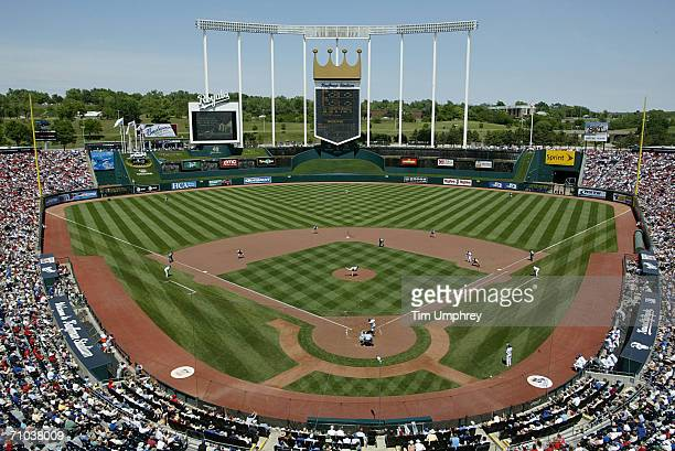 Kauffman Stadium is shown during the St Louis Cardinals game against the Kansas City Royals on May 21 2006 at Kauffman Stadium in Kansas City...