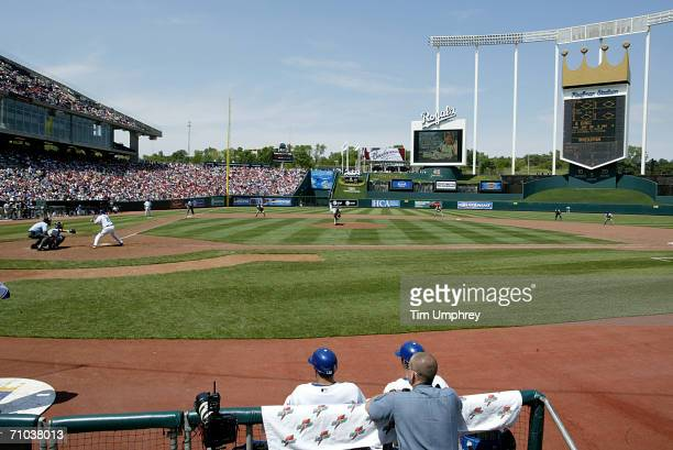 Kauffman Stadium is shown during the St. Louis Cardinals game against the Kansas City Royals on May 21, 2006 at Kauffman Stadium in Kansas City,...