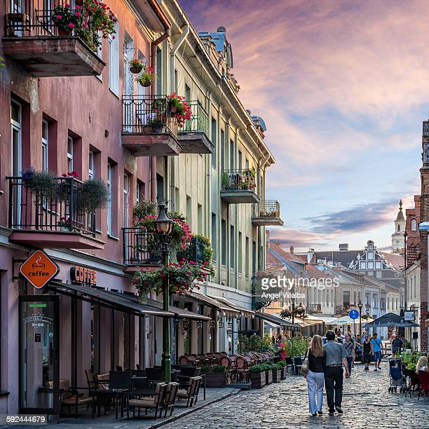 kaunas. walking down the street vilnius - lithuania stock pictures, royalty-free photos & images
