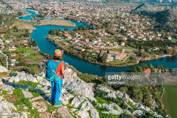 kaunos ancient city from dalyan, turkey. - mugla province stock pictures, royalty-free photos & images