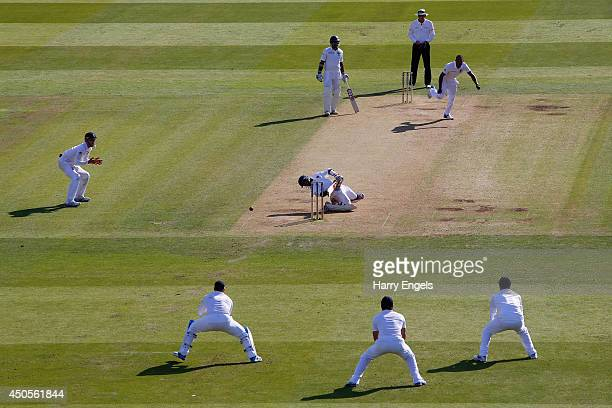 Kaushal Silva of Sri Lanka avoids a bouncer from Chris Jordan of England during day two of the 1st Investec Test match between England and Sri Lanka...
