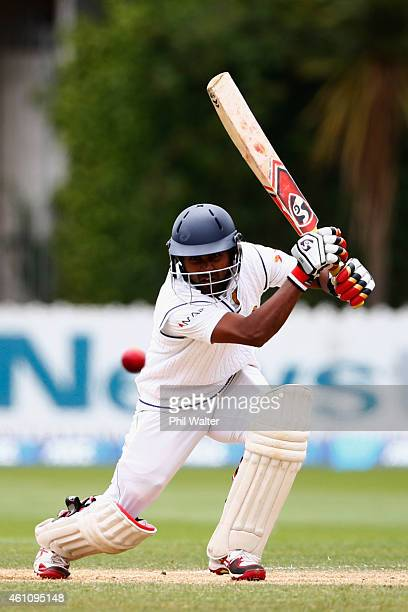Kaushal Silva of Sri Lanka bats during day five of the Second Test match between New Zealand and Sri Lanka at Basin Reserve on January 7 2015 in...