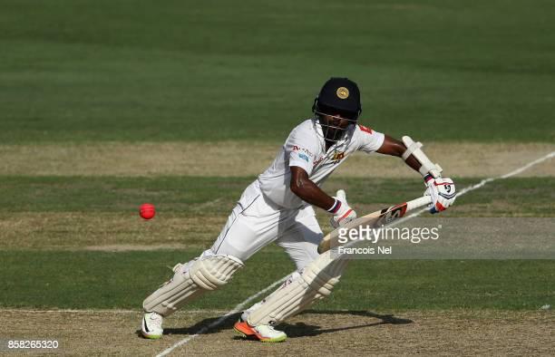 Kaushal Silva of Sri Lanka bats during Day One of the Second Test between Pakistan and Sri Lanka at Dubai International Cricket Ground on October 6...