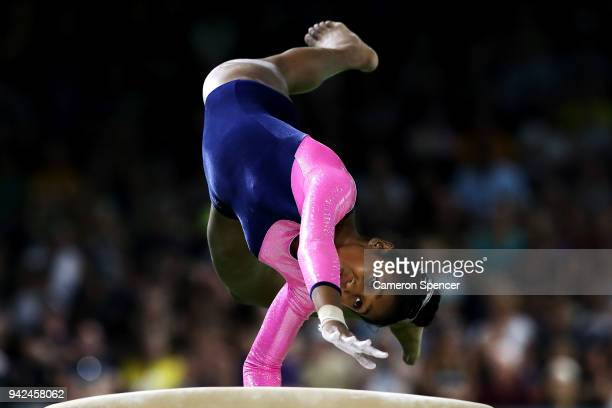 Kaushini Gamage of Sri Lanka competes on the vault during the Gymnastics Artistic Women's Team Final and Individual Qualification on day two of the...
