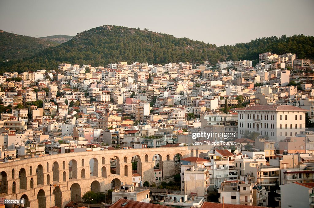 Kavala's famous aqueduct and city, Northern Greece : Stock Photo