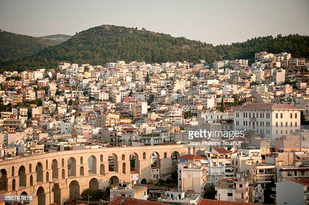 Kavala's famous aqueduct and city, Northern Greece