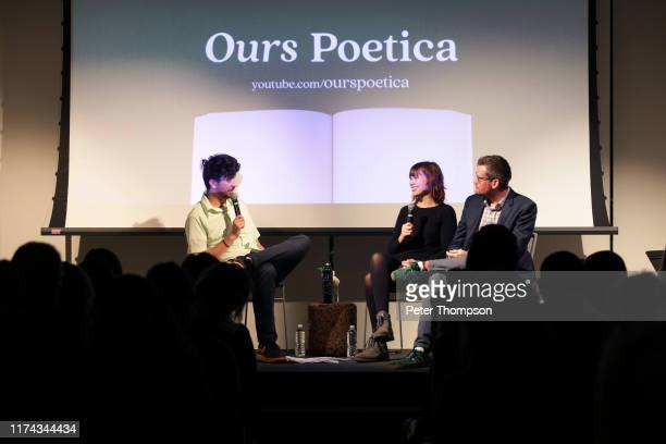 Kaveh Akbar Paige Lewis and John Green take questions from the audience at the Poetry Foundation and Complexly launch of Ours Poetica on September 12...