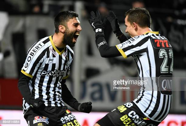 Kaveh Rezaei forward of Sporting Charleroi celebrates with teammates after scoring pictured during match of the Jupiler Pro League Season 2017 2018...