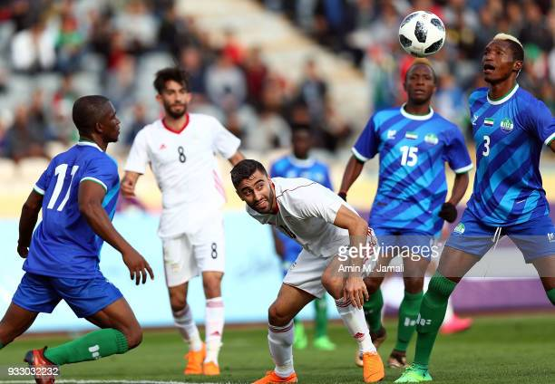Kaveh Rezaei of Iran in action during the International Friendly between Iran and Sierra Leone at Azadi Stadium on March 17 2018 in Tehran Iran