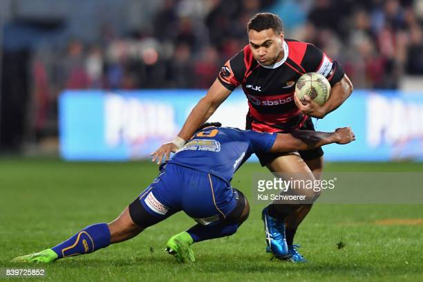 Kaveinga Finau of Canterbury is tackled during the round two Mitre 10 Cup match between Canterbury and Otago on August 27 2017 in Christchurch New...