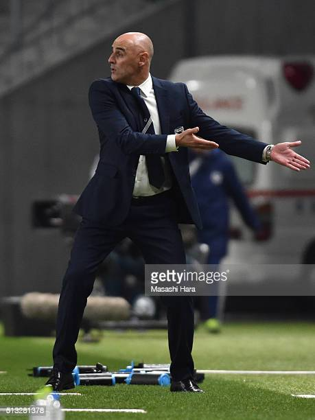 Kavin Muscatcoach of Melbourne Victory looks on during the AFC Champions League Group G match between Gamba Osaka and Melbourne Victory at Suita City...