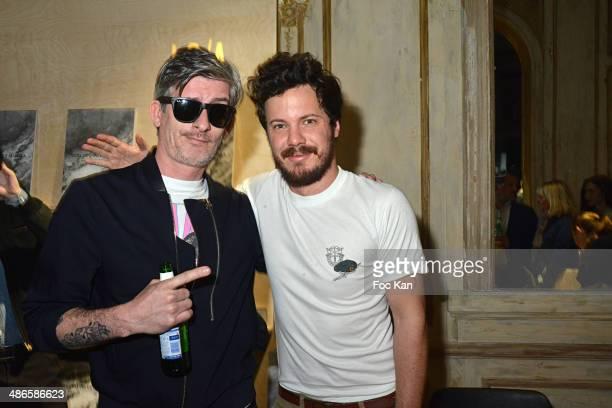 Kavinsky and Mathieu Cesar attends the 'Vers L'Infini Et Au Dela' Mathieu Cesare Book Launch Cocktail at Lo/A Edition Rue Volney on April 24 2014 in...