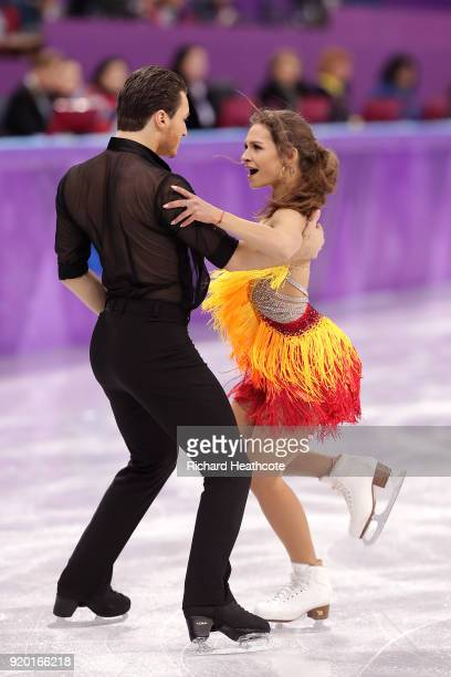 Kavita Lorenz and Joti Polizoakis of Germany compete during the Figure Skating Ice Dance Short Dance on day 10 of the PyeongChang 2018 Winter Olympic...