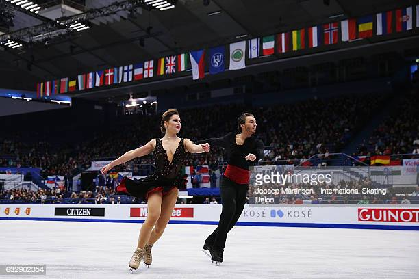 Kavita Lorenz and Joti Polizoakis of Germany compete in the Ice Dance Free Dance during day 4 of the European Figure Skating Championships at...