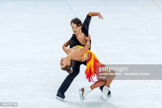 Kavita Lorenz and Joti Polizoakis of Germany compete in the Ice Dance Short Dance during the Nebelhorn Trophy 2017 at Eissportzentrum on September 28...