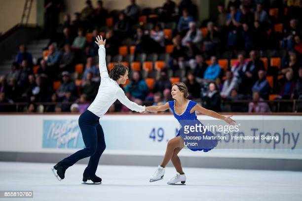 Kavita Lorenz and Joti Polizoakis of Germany compete in the Ice Dance Free Dance during the Nebelhorn Trophy 2017 at Eissportzentrum on September 30...