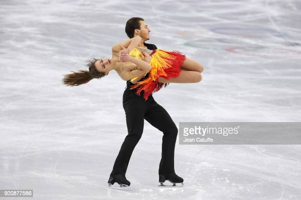 Kavita Lorenz and Joti Polizoakis of Germany during the Figure Skating Ice Dance Short Dance program on day ten of the PyeongChang 2018 Winter...