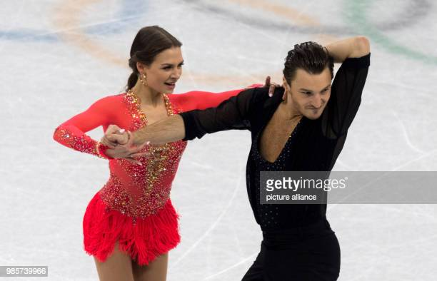 Kavita Lorenz and Joti Polizoakis of Germany in action during the ice dancing short programme at the Olympics in the Gangneung Ice Arena in Gangneung...