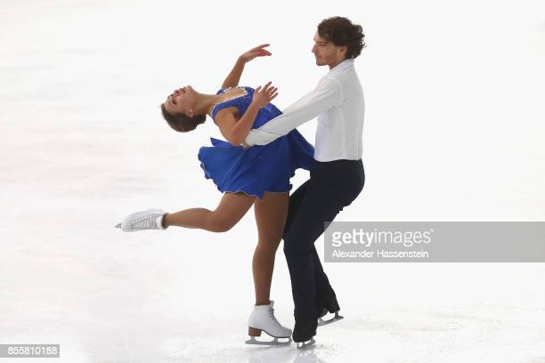 Kavita Lorenz and Joti Polizoakis of Germany performs at the Ice dance free dance skating during the 49 Nebelhorn Trophy 2017 at Eishalle Oberstdorf...