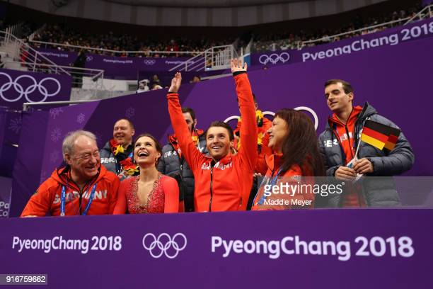 Kavita Lorenz and Joti Polizoakis of Germany react after competing in the Figure Skating Team Event Ice Dance Short Dance on day two of the...