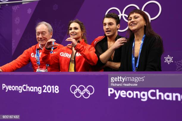 Kavita Lorenz and Joti Polizoakis of Germany react after competing during the Figure Skating Ice Dance Short Dance on day 10 of the PyeongChang 2018...