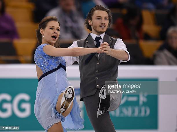 Kavita Lorenz and Panagiotis Polizoakis from Germany during the Ice Dance practice session March 29 2016 during the 2016 ISU World Figure Skating...