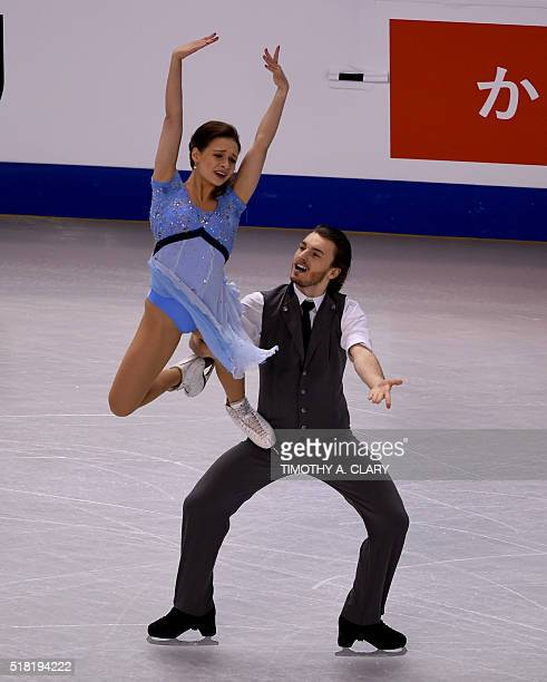 Kavita Lorenz and Panagiotis Polizoakis of Germany during Ice Dance Short Dance competition at the ISU World Figure Skating Championships at TD...