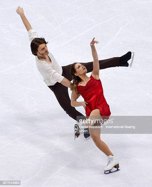 Kavita Lorenz and Panagiotis Polizoakis of Germany perform during Ice Dance Free Dance on day four of the ISU European Figure Skating Championships...