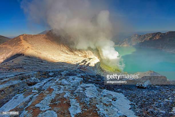 Kawa Ijen Volcano crater and lake, Indonesia