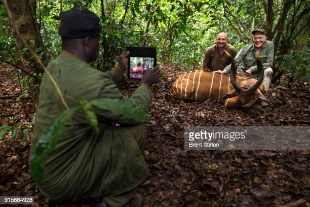 Kawa Safaris professional hunter Mike Fell and his client hunter Dr Gerald Warnock of the USA pose with the Bongo antelope Dr Warnock shot from a...
