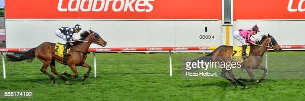 Kawabata ridden by Ben E Thompson wins the TSOLS TIPS Handicap at Moonee Valley Racecourse on October 06 2017 in Moonee Ponds Australia
