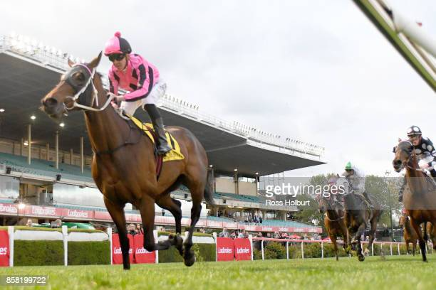 Kawabata ridden by Ben E Thompson wins the TSOLS TIPS Handicap at Moonee Valley Racecourse on October 06 2017 in Moonee Ponds Australia