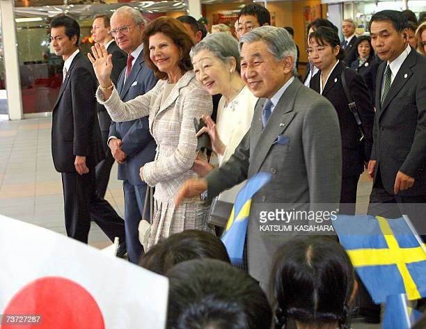 Japanese Emperor Akihito Empress Michiko Sweden's Queen Silvia and King Carl XVI Gustav are welcomed by kindergarden children on their arrival at Hon...
