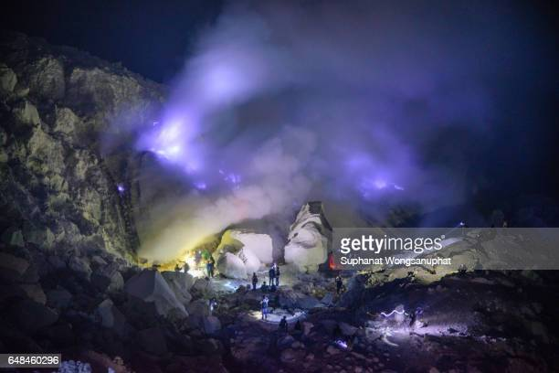kawah ijen volcano, indonesia - east java province stock photos and pictures