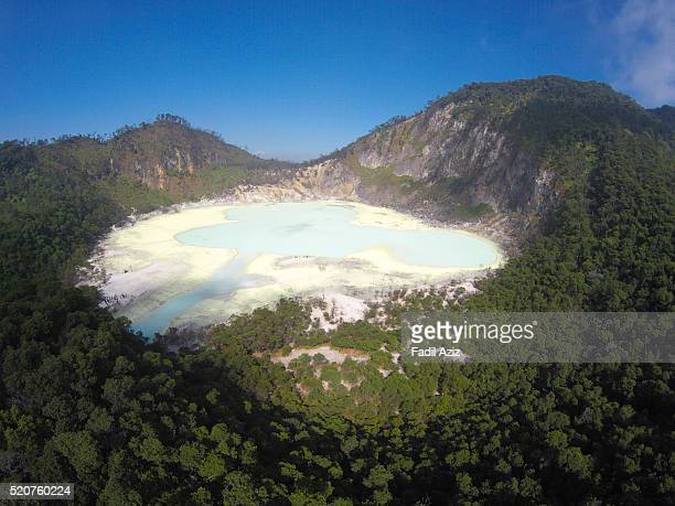 kawah putih (white crater), west java, indonesia, seen from the air. - bandung stock pictures, royalty-free photos & images