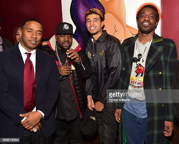 Kawan 'KP' Prather Big Boi Kap G and Andre 3000 attend a Cocktail Affair For Grammy Nominated Kawan KP Prather at 925 Scales on February 8 2016 in...