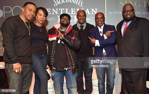 Kawan KP' Prather Cheri Riley Big Boi Big Tigger LA Reid and Reggie Rouse attend a Conversation with LA Reid SCADshow on February 24 2016 in Atlanta...