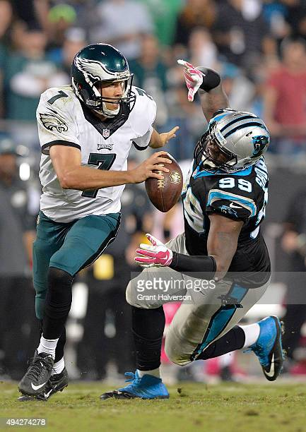 Kawann Short of the Carolina Panthers pressures Sam Bradford of the Philadelphia Eagles during their game at Bank of America Stadium on October 25...