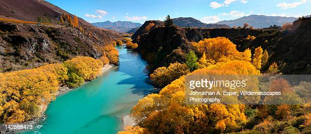 kawarua river in autumn - arrowtown stock pictures, royalty-free photos & images